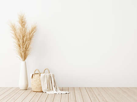 Living room interior wall mockup with woven basket, blanket and dried pampas grass in vase on wooden floor with empty white background. 3d rendering, 3d illustration Imagens