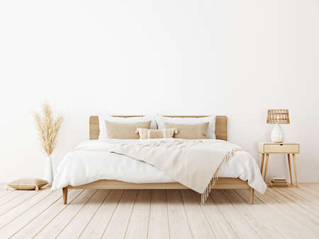 Bedroom interior mockup in boho style with wooden bed, fringed beige blanket, linen cushion with tassels, dried pampas grass and basket lamp on empty white background. 3d rendering, 3d illustration