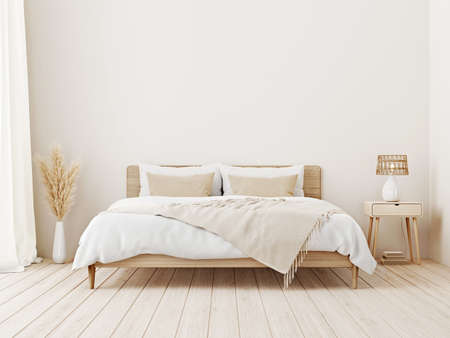 Bedroom interior mockup in boho style with fringed blanket, cushion with tassels, linen bedding, dried pampas grass, basket lamp and curtain on empty beige background. 3d rendering, 3d illustration Imagens