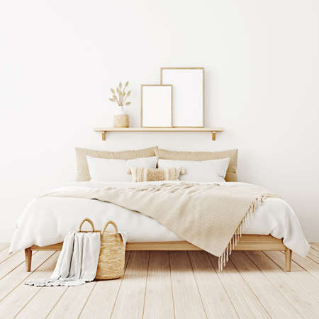 Vertical poster mockup in boho bedroom interior with two wooden frames on shelf above bed, beige blanket, cushion with tassels, dried grass and basket on white wall. 3d rendering, 3d illustration Imagens