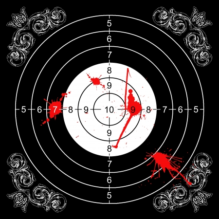 bloodstains: baroque wall target for shooting with bloodstains Stock Photo