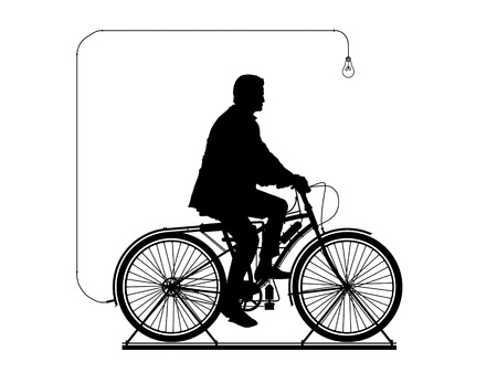 producing: man riding on the bicycle connected to a lightbulb and producing electricity Stock Photo