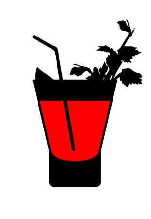 tubule: silhouette of a bloody mary cocktail with lemon, sprig of celery and tubule