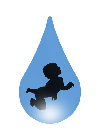 symbol of beginning of life and importance of water - baby swimming in a drop of water