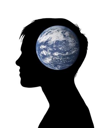 profile of a young woman with the planet Earth inside her head photo