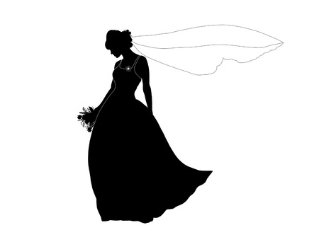 silhouette of a young beautiful bride with a bouquet of flowers and a long veil Stock Photo