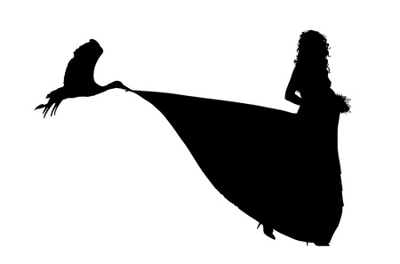silhouette of a pregnant bride and a storck carrying in its beak a train of her wedding dress photo