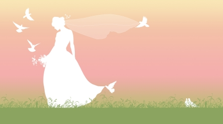 silhouette of a young beautiful bride with a bouquet of flowers and a long veil walking on the grass and surrounded by pigeons and butterflies photo