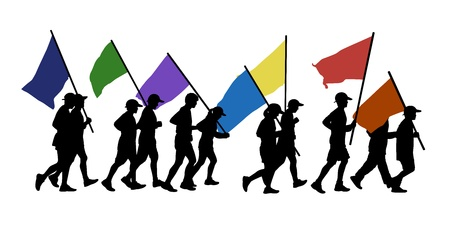 scamper: 11 persons men and women runnig together and carrying few flags in colors of a rainbow