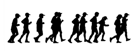 silhouette of a group of 11 persons men and women runnig together Stock Photo