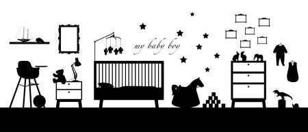 いくつかの家具、おもちゃ、衣服、装飾および他育児の赤ちゃんの男の子の部屋のインテリアの黒いシルエット