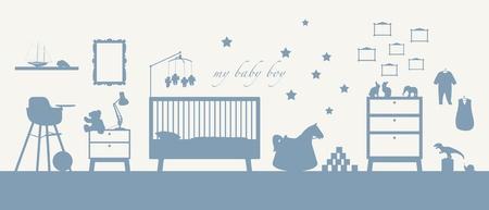 いくつかの家具、おもちゃ、衣服、装飾および他育児の赤ちゃんの男の子の部屋のインテリアの青いシルエット 写真素材