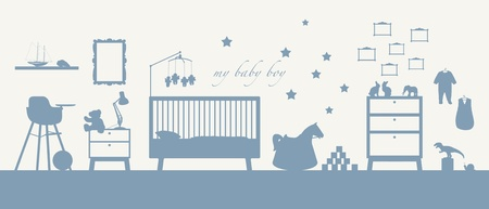 blue silhouette of an interior of a baby boy's room with some furniture, toys, clothes, decoration and other childcare