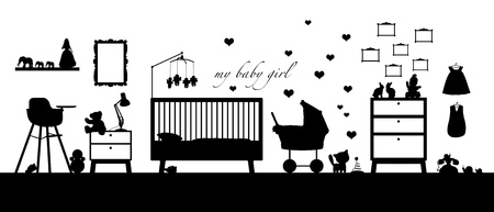 black silhouette of an interior of a baby girl's room with some furniture, toys, clothes, decoration and other childcare  Banque d'images