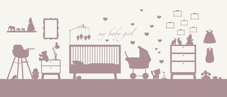 いくつかの家具、おもちゃ、衣服、装飾および他育児の赤ちゃん女の子の部屋のインテリアのピンクのシルエット
