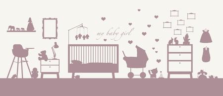 Rose silhouette d'un intérieur d'une chambre de fille de bébé avec des meubles, des jouets, des vêtements, de décoration et autres modes de garde Banque d'images - 18284669