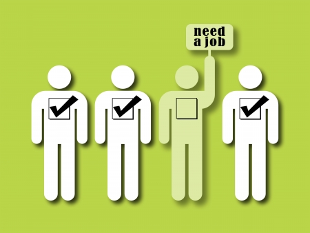 unemployment rate: symbol of unemployment rate: one person on four is holding a sign with the inscription