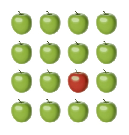 distinction: set of 16 apples of the same shape and size, 15 of which are green and just one is red  Stock Photo