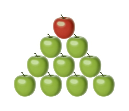 set of 9 green apples of the same shape and size set in a pyramid shape with a chief red apple on the top