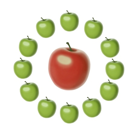 set of 12 green apples of the same shape and size set in a circle around a big red apple Stock Photo - 18423064