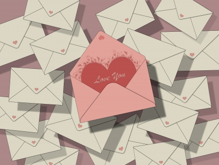 lots of beige closed envelopes on a pastel pink background, one is open with a heart and the inscription  photo