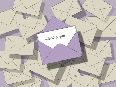 lots of beige closed envelopes on a pastel violet background, one is open with inscription  photo