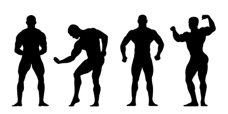 body posture: 4 realistic silhouettes of bodybuilders in different postures