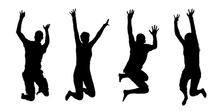 4 black silhouettes of jumping people, both men and women