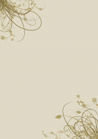 floral elements in the corners of A4 page in ocher and beige colors