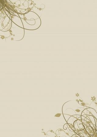 黄土色とベージュ色の A4 ページのコーナーで花の要素 写真素材