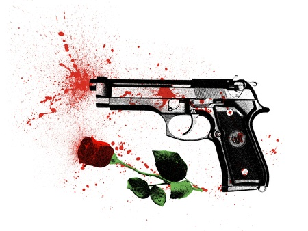 bloodstains: symbol a crime in the name of love, a pistol and a rose covered with bloodstains