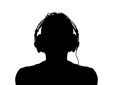 black silhouette of a man in headphones Stock Photo