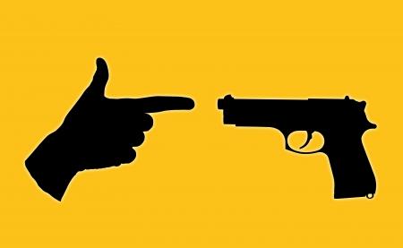 unequal: s�mbolo de una lucha desigual entre una pistola de verdad y una mano humana con los dedos ubicado en una pistola