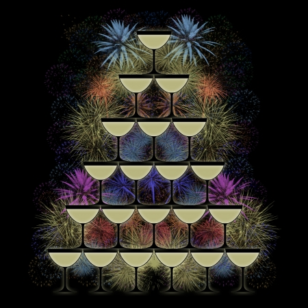 pyramid of champagne glasses on a colorful firework background
