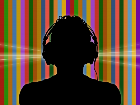 black silhouette of a dj in headphones on a colorful funky background photo