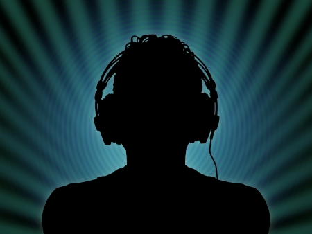 black silhouette of a dj in headphones in the night club Stock Photo
