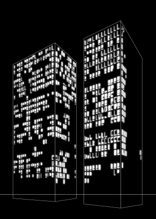 black and white image of two skyscrapers by night with lost of windows light on inside Stock Photo - 18953321