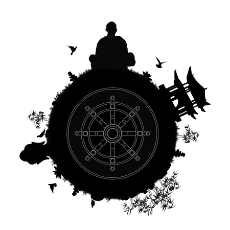 black silhouette of a buddhist planet with a monk meditating, pagoda, buddha head statue, stone pyramids, lotus flowers, bamboos and other plants and a dharma wheel in the center of a planet photo
