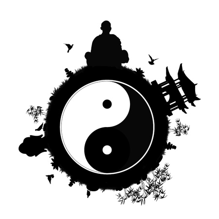 black silhouette of a little peaceful planet with a man meditating, pagoda, buddha head statue, stone pyramids, lotus flowers, bamboos and other plants; symbol of a peaceful and quiet world with yin yang sign