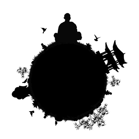 black silhouette of a little zen planet for meditation with pagoda, buddha head statue, stone pyramids, lotus flowers and bamboos, grass; symbol of a zen world photo