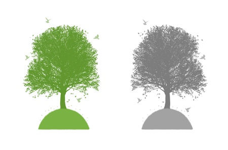 set of two logos symbolizing a tree on a hill with birds and butterflies around in green and grey tones Banque d'images