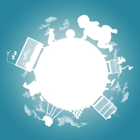 white silhouette of a little planet of a baby boy with his toys, bed, furniture and other property; a symbol of a baby boy photo