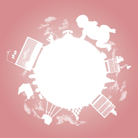 white silhouette of a little planet of a baby girl with her toys, bed, furniture and other property; a symbol of a baby girl photo