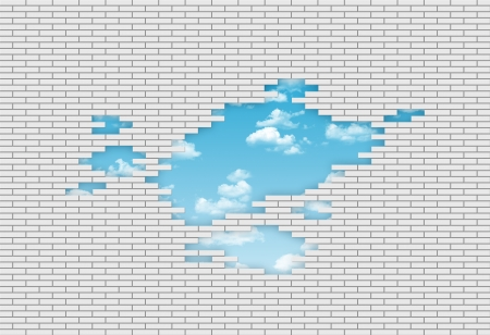 breakthrough brand new wall made of white brick with the blue sky on the background Stock Photo - 19079689