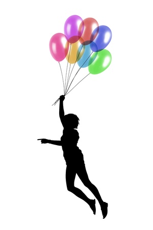 black silhouette of a young woman flying keeping colorful balloons in her hand photo