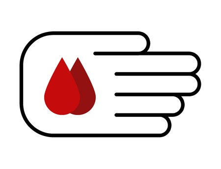 symbol of blood donation: hand offering two drops of blood