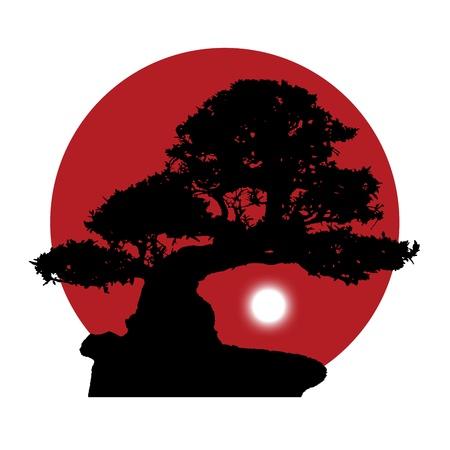 赤い太陽の背景に白い月の昇る盆栽の黒いシルエット