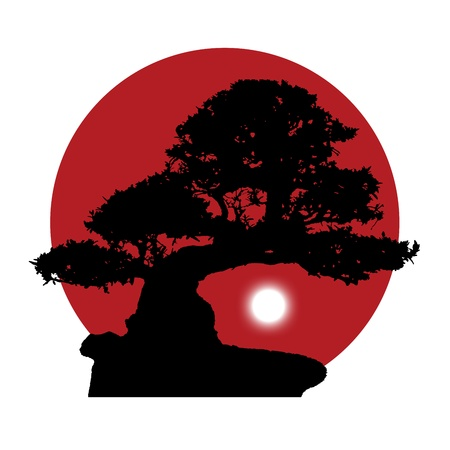 black silhouette of a bonsai with a rising white moon on a red sun background