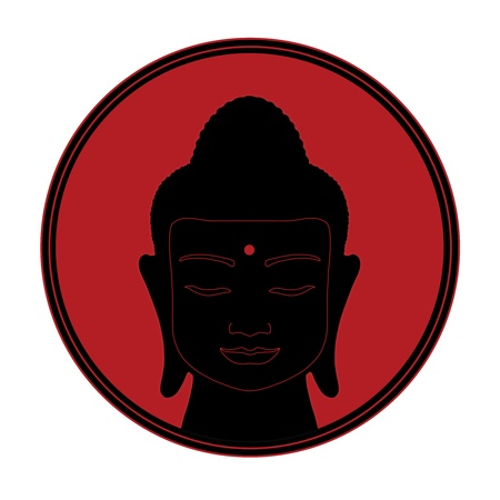 third eye: black silhouette of a head of Buddha with  third eye on a red sun background