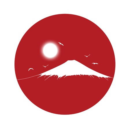 black silhouette of a fuji mount with a shining white sun on a red circle background